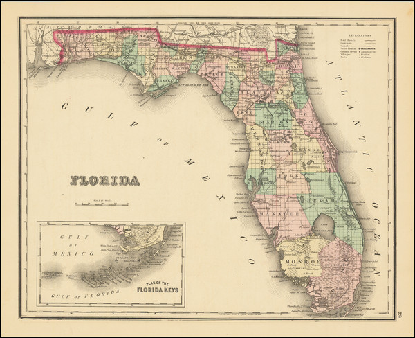 73-Florida Map By O.W. Gray