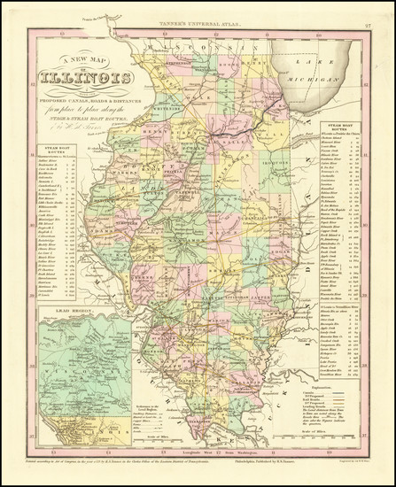 66-Illinois Map By Henry Schenk Tanner
