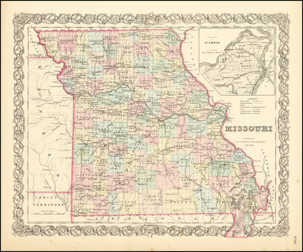 34-Missouri Map By Joseph Hutchins Colton