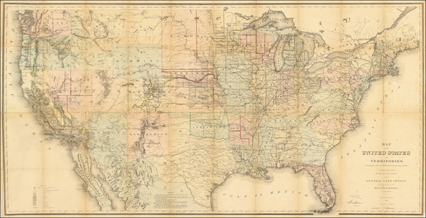 46-United States Map By U.S. General Land Office