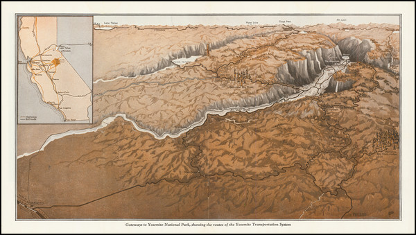 95-Yosemite Map By Yosemite Park and Curry Co.