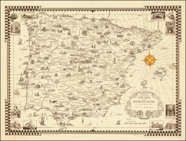 12-Spain, Portugal and Pictorial Maps Map By Ernest Dudley Chase