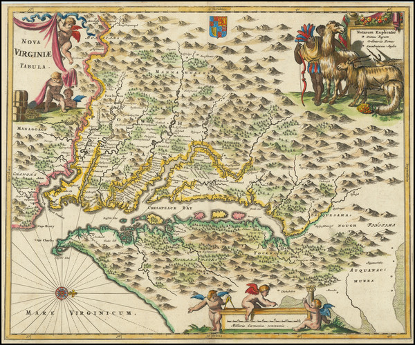 9-Maryland, Delaware, Southeast and Virginia Map By John Ogilby