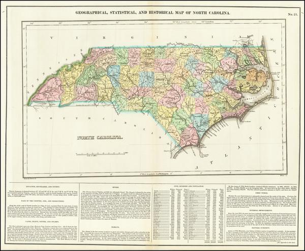 97-North Carolina Map By Henry Charles Carey  &  Isaac Lea