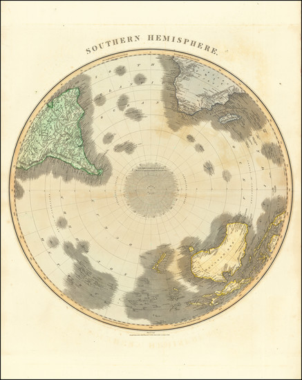 36-Southern Hemisphere, Polar Maps, Oceania and New Zealand Map By John Thomson