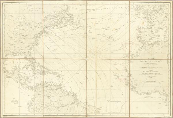 84-Atlantic Ocean, United States and Caribbean Map By Depot de la Marine