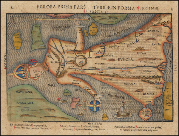 71-Europe and Comic & Anthropomorphic Map By Heinrich Bunting