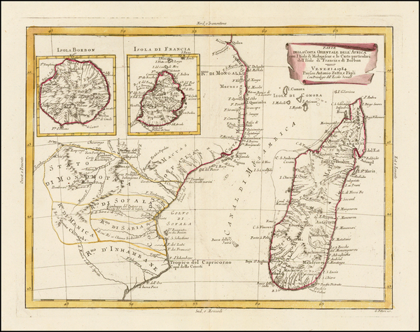 98-East Africa and African Islands, including Madagascar Map By Antonio Zatta