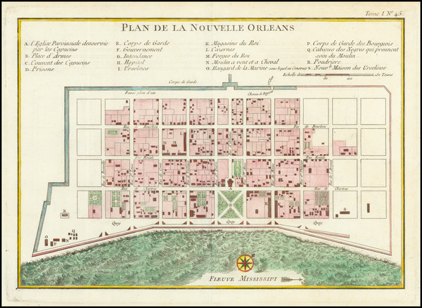 25-Louisiana and New Orleans Map By Jacques Nicolas Bellin