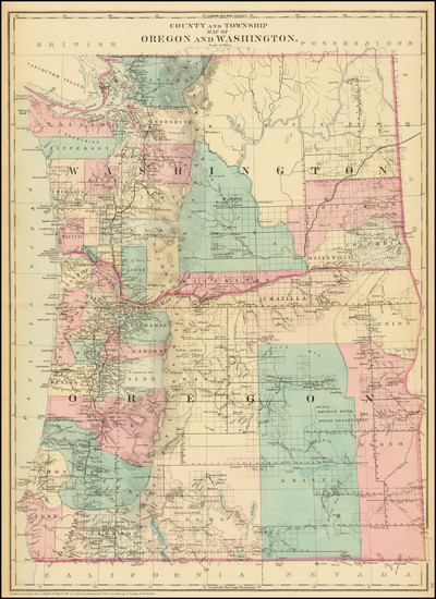 15-Oregon and Washington Map By Samuel Augustus Mitchell Jr.