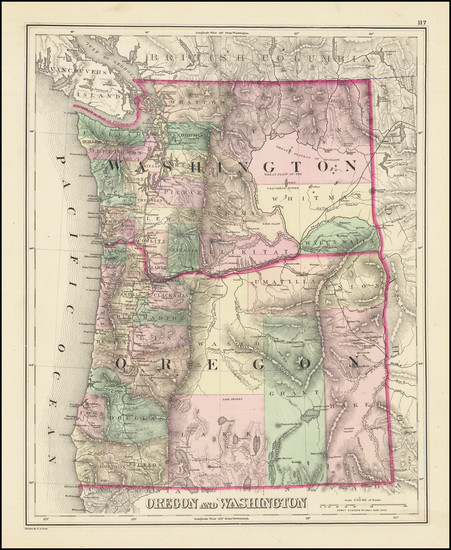 9-Oregon and Washington Map By OW Gray