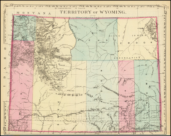 38-Wyoming Map By Samuel Augustus Mitchell Jr.