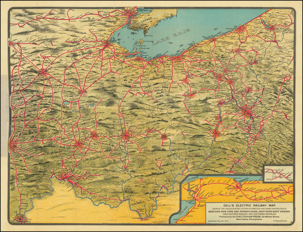 84-New York State, Pennsylvania, West Virginia, Kentucky, Indiana, Ohio and Michigan Map By Chelte