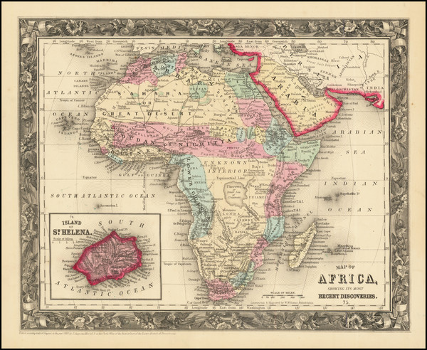 34-Africa Map By Samuel Augustus Mitchell Jr.