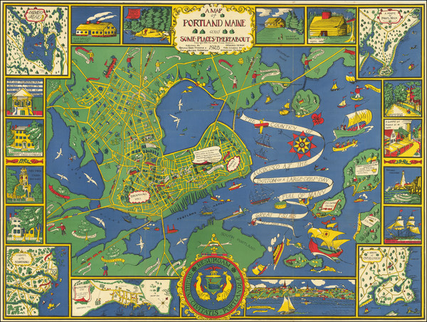 81-Maine and Pictorial Maps Map By Katherine Dudley