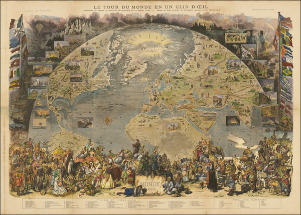 89-World and Pictorial Maps Map By MM Scott / Daniel Vierge / Fortune Louis Meaulle