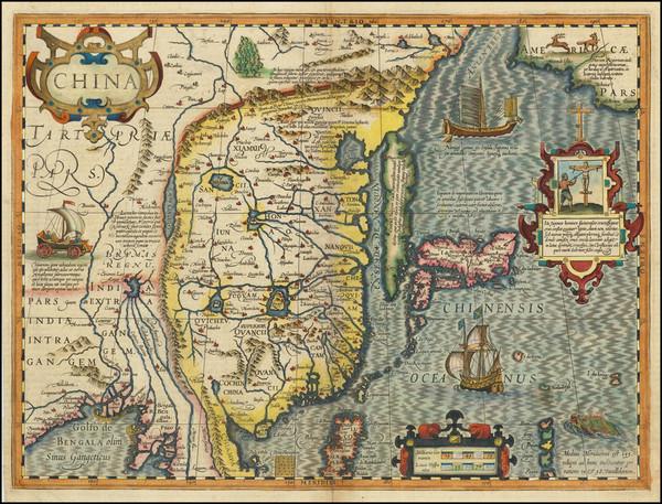 57-China, Japan and Korea Map By Jodocus Hondius