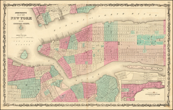 51-New York City Map By Benjamin P Ward  &  Alvin Jewett Johnson