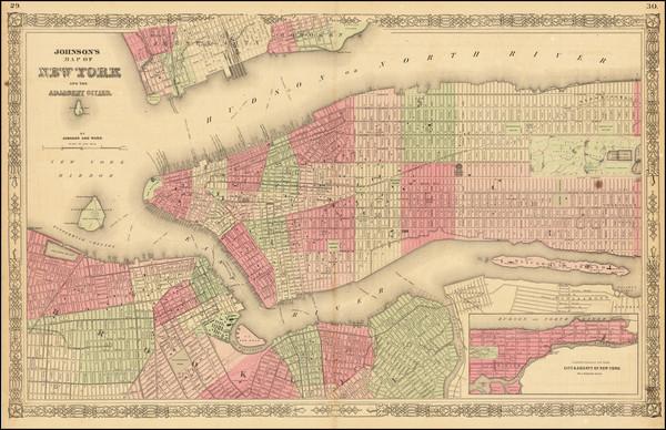 55-New York City Map By Alvin Jewett Johnson  &  Benjamin P Ward