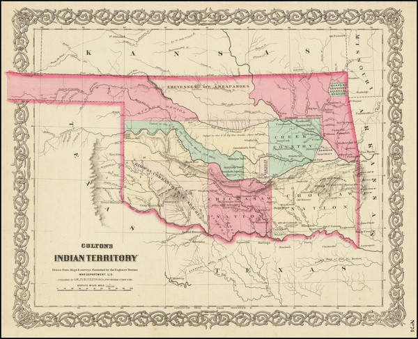 19-Plains, Oklahoma & Indian Territory and Southwest Map By G.W.  & C.B. Colton