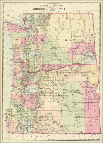 40-Oregon and Washington Map By Samuel Augustus Mitchell Jr.