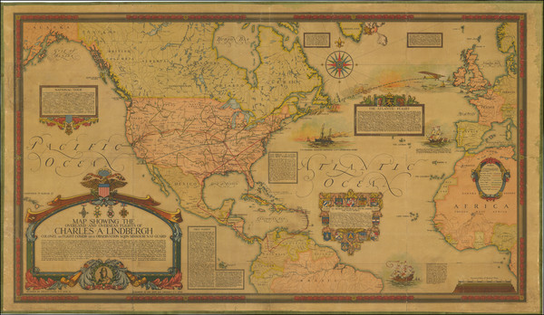 55-Atlantic Ocean, United States, North America and Pictorial Maps Map By Ernest Clegg