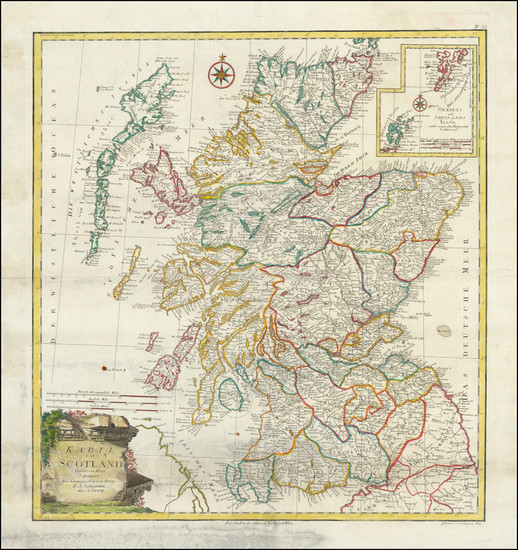 11-Scotland Map By Franz Anton Schraembl