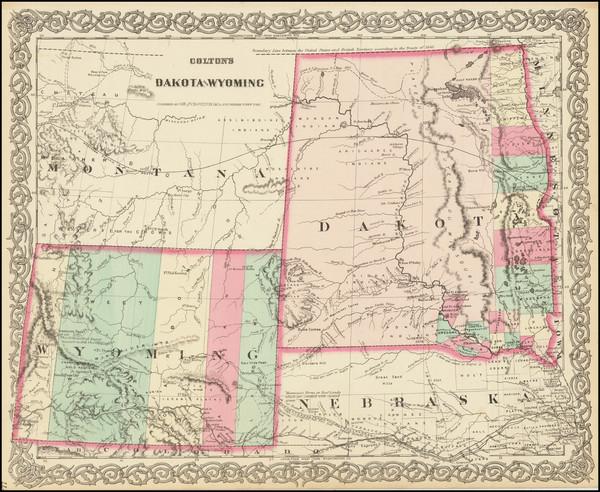 55-North Dakota, South Dakota, Rocky Mountains, Montana and Wyoming Map By G.W.  & C.B. Colton
