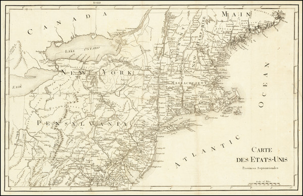 65-New England, New York State, Mid-Atlantic and Pennsylvania Map By Francois A.F. La Rochefoucaul