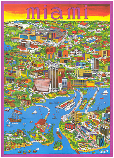 69-Florida, Pictorial Maps and Travel Posters Map By Trans Continental Cartographers