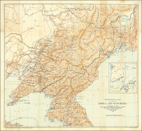30-China and Korea Map By United States War Dept.