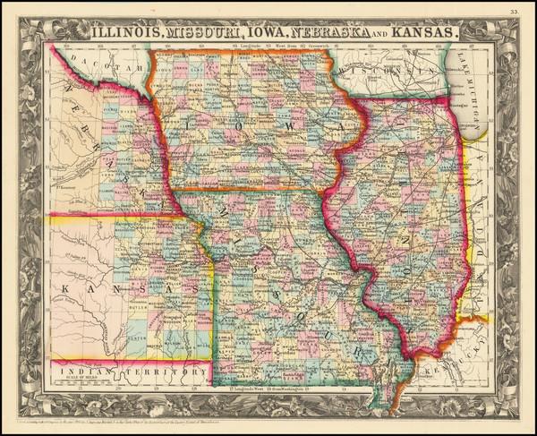 15-Illinois, Iowa, Kansas and Missouri Map By Samuel Augustus Mitchell Jr.