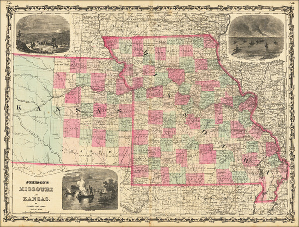 50-Kansas and Missouri Map By Alvin Jewett Johnson  &  Benjamin P Ward