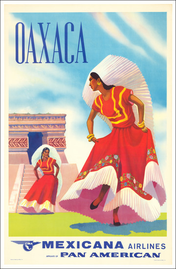 48-Mexico and Travel Posters Map By Mexicana de Aviación