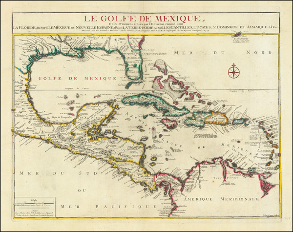 100-Florida, South, Texas and Caribbean Map By Nicolas de Fer