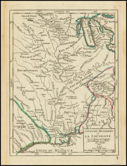 25-South, Texas, Midwest and Plains Map By Gilles Robert de Vaugondy