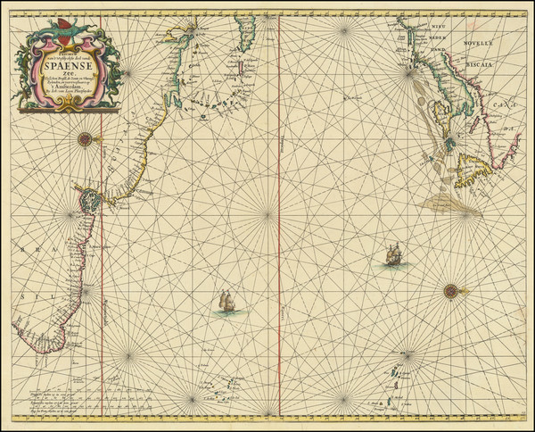 44-Atlantic Ocean, New England, Caribbean and Brazil Map By Johannes van Loon