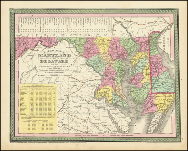 65-Maryland and Delaware Map By Thomas, Cowperthwait & Co.