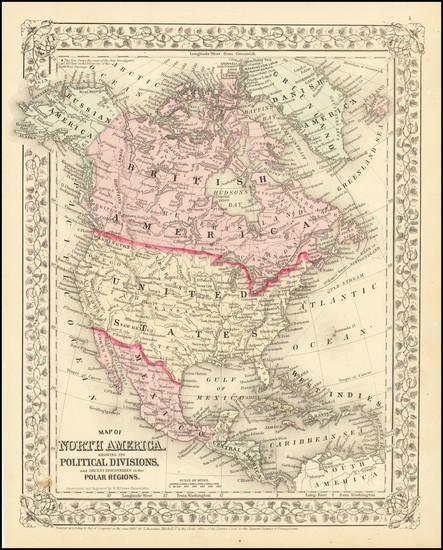 7-North America Map By Samuel Augustus Mitchell Jr.