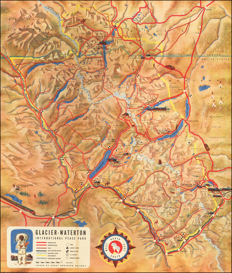 95-Rocky Mountains, Montana and Canada Map By Great Northern Railway Co.