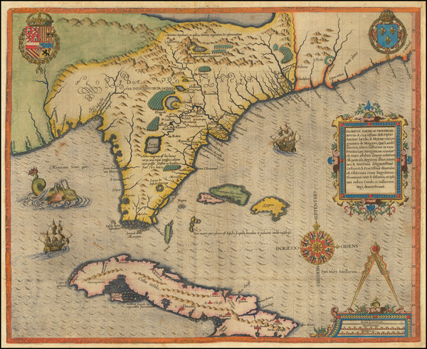 97-Florida, South, Southeast, Midwest and Caribbean Map By Jacques Le Moyne