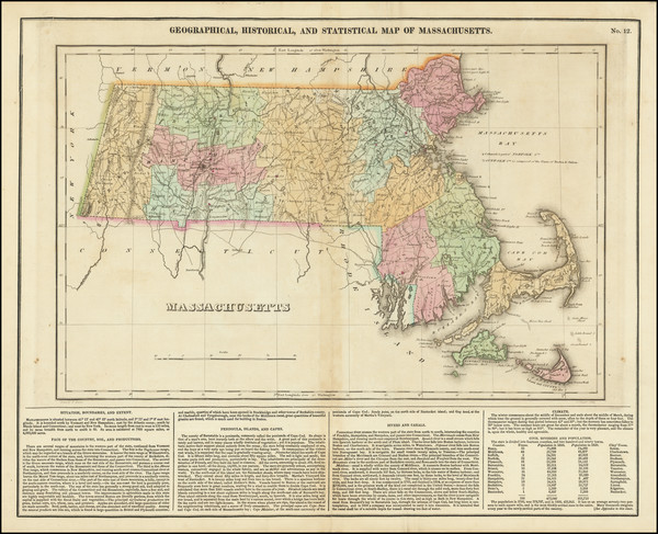67-Massachusetts Map By Henry Charles Carey  &  Isaac Lea