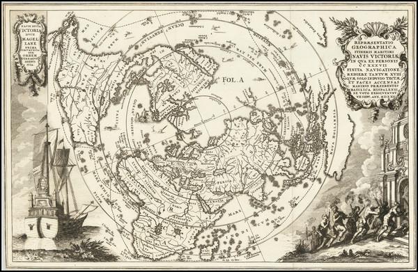 74-World and Northern Hemisphere Map By Heinrich Scherer