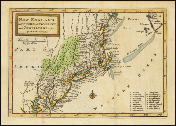 36-New England, New York State and Mid-Atlantic Map By Herman Moll