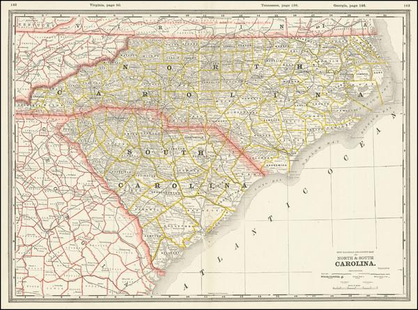 58-North Carolina and South Carolina Map By George F. Cram