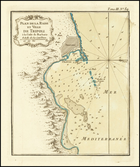 66-North Africa Map By Jacques Nicolas Bellin