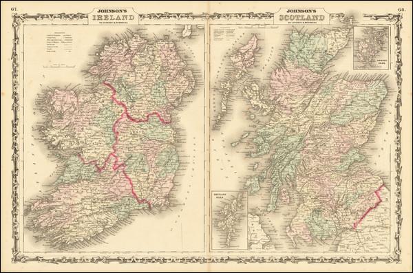 83-Scotland and Ireland Map By Alvin Jewett Johnson  &  Ross C. Browning