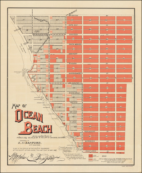 76-San Diego and Other California Cities Map By O. N. Sanford