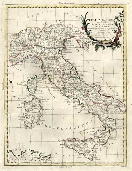 64-Europe, Italy, Mediterranean and Balearic Islands Map By Antonio Zatta
