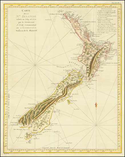 83-New Zealand Map By James Cook